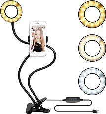 Lampada da tavolo Guduo da tavolo con USB Selfie Led Ring Light in diversi colori Supporto metallico flessibile per Iphone 4s / 5 / 5s / 6 / 6s / 7 / 7s / 8 Telefono mobile Clip da video a clip