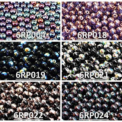 Tschechische Gepresste Glasperlen, Runde 6 mm. Sechs Farben. Insgesamt 300 Perlen. Set RP 603 (6RP004 6RP018 6RP019 6RP021 6RP022 6RP024) -