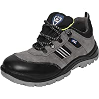 Allen Cooper 1156 Men's Safety Shoe Buff Sede Leather with Black Cordura, Size-5 UK, Grey (1 Pair Free Socks)