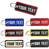 Portachiavi personalizzato, nome ricamo personalizzato numero di telefono tag chiave, portachiavi moto per auto donna…