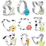 ATUIO - Koekjessnijder voor Pasen, 9 stuks, voor Pasen met ei, haas, wortel, kuiken, vlinders, bloemen, voor lente en Pasen,