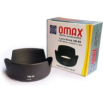 Omax lens hood for nikon af-s 18-55mm f/3.5-5.6g vr ii lens replaces nikon hb-69 (not for nikon af-p 18-55mm lens)