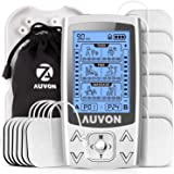 """AUVON Dual Channel TENS EMS Machine for Pain Relief, 24 Modes TENS Unit Muscle Stimulator with 12pcs 2""""x2"""" TENS Electrode Pad"""
