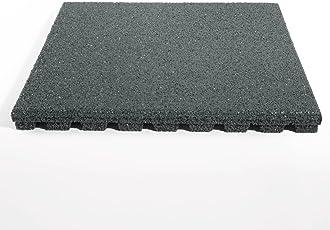 etm Fallschutzmatte für Außenbereich | Unterseite mit Drainage | Größe 50x50 cm | TÜV geprüft | Fallschutz mit Stärke 25 oder 43 mm | Grau (25 mm)