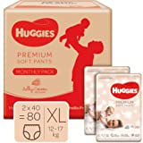 Huggies Premium Soft Pants, Monthly Box Pack, Extra Large (XL) Size Diaper Pants, 80 Count