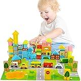 MumooBear Wooden Building Blocks City Blocks Wood Set Educational Stacking Toy for Kids Toddlers Preschool,62 Pieces