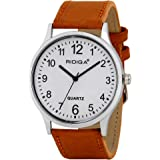 RIDIQA Analogue Boys' Watch (White Dial Brown Colored Strap)