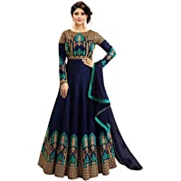 Smily Creation Women's Silk Embroidered Anarkali Long Gown