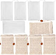 Qtopun 10 Pack Soap Bag, 5 PCs Mesh Soap Pouch And 5 Pcs Natural Soap Saver Soap Exfoliating Bag For Shower Bath