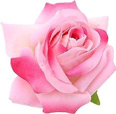 Sanjog Floral Pink Velvet Rose Kids Hair Flower Clip and Pin Brooch for Kids