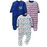 MY BABY TOWN Baby Multi-Color Long Sleeve Cotton Sleep Suit Romper for Boys and Girls Set of 3 (0-3 Months, Blue)