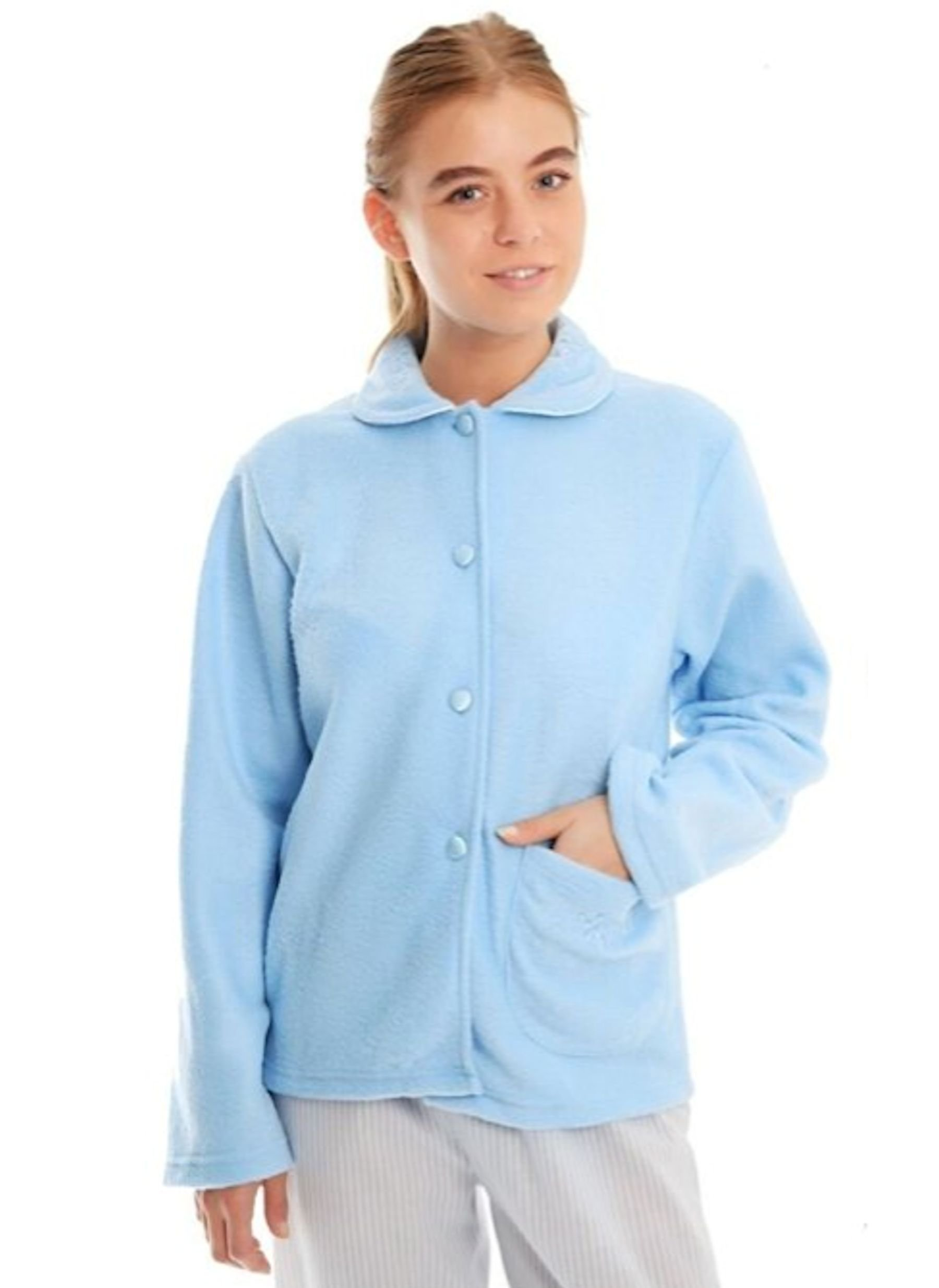 714aoxvqJ L - Ladies Fleece Bed Jacket with Floral Pattern on Collar and Single Front Pocket Pink, Blue, Aqua Sizes 10-12, 14-16, 18…