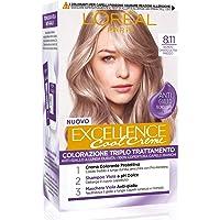 L'Oréal Paris Tinta Capelli Excellence Cool Creme, Copre i Capelli Bianchi, Colore Ricco dai Toni Freddi, 8.11