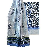 Pawan Textiles Women's Cotton Jaipuri Hand Block Print Unstitched Suit Material with Cotton Mulmul Dupatta