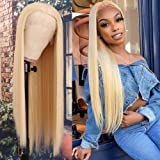 QD-Tizer Blonde Hair Lace Front Wig Long Straight Blonde Wig Natural Hair Heat Resistant Fiber Hair Synthetic Lace Front Wigs