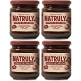NATRULY Hasselnöt och Kakaokräm, Sockerfri och Utan Sötningsmedel, Sötad med Cikoriafiber, Mjölkchokladsmak -Pack 4x300g