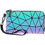 LOVEVOOK Geometrische Geldbörse Damen Tasche, Holographic Leuchtende Geldbeutel für Frauen, HandyTasche Brieftasche mit Reißv