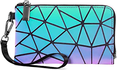 LOVEVOOK Geometrische Geldbörse Damen Tasche, Holographic Leuchtende Geldbeutel für Frauen, HandyTasche Brieftasche mit Reißverschluss, PU Leder