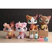Beibei Judylovelps Lot de 4 figurines personnalisées pour chat et collie avec accessoires