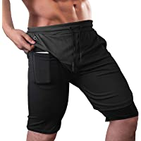 Lixada Men Running Shorts 2-in-1 Drawstring Gym Shorts with Pockets Quick Dry Sports Shorts for Gym Workout Trainning…