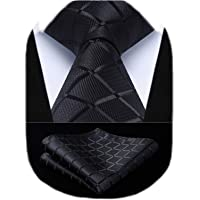 HISDERN Extra Long Check Plaid Tie Handkerchief Men's Necktie & Pocket Square Set For Formal Business
