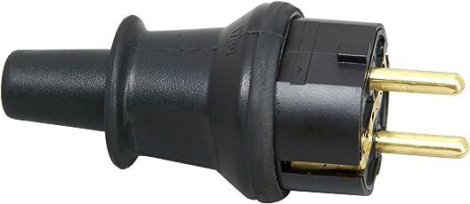 Kopp Schutzkontakt-Stecker mit Knickschutztülle, IP44 Schutzklasse, spritzwassergeschützt, 250V (16A), Schutzkontakt Stecker aus SEBS, bruchfest, schwarz, 173016008
