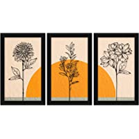 ArtX Paper Flower Wall Art Painting, Framed Paintings 13.5 X 25.5 inches(Combined), 8.5 X 13.5, Multicolor, Floral…