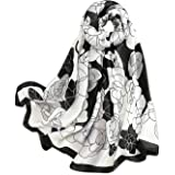 LumiSyne Sciarpa Di Seta Da Donna Pittura a Inchiostro Artistica Fiore Stampato Foulard Lungo Stole Morbida Scialle Protezion