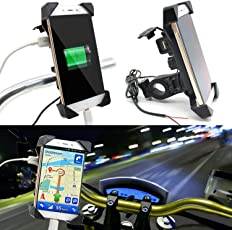 Ceuta Retails Waterproof Universal Motorcycle Car 360 Degree Rotating Bike Mobile Holder with USB Charger for All Android Devices Upto 7 Inches (Black)