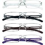 4 paires de lunettes de lecture, lunettes de blocage de lumière bleue, lunettes de lecture d'ordinateur pour femmes et hommes