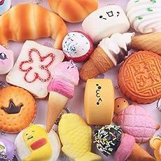 Voberry Jumbo Slow Rising Squishies Toys 5Pcs Medium Mini Soft Squishy Bread Toys Key 11cm*10cm*10cm/4.4*3.9*3.9inches A