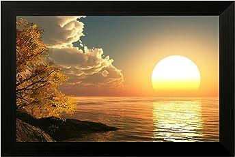 EK Number Sunrise Design Framed Painting(Frame Size 30CM x3CM 22CM)