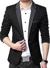 Menjestic Men's Slim Fit Blazer With Grey Lapel