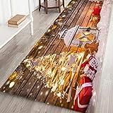 Gpure Alfombra De Pasillo Decoración Navidad,40x120 cm, Dibujos Papá Noel árbol De Navidad Largo Felpudos De Terciopelo Coral