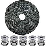 ICQUANZX 5 meter GT2 2 mm pitch 6 mm brede rubberen tandriem + 5 stuks 16 tanden Aluminium tandwiel voor 3D-printer