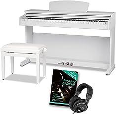 Steinmayer DP-320 WM Digitalpiano Set (88 Tasten, Ivory Touch, Hammermechanik, Kopfhöreranschlüsse, 3 Pedale, Saiten- und Dämpferresonanzsimulation inkl. Pianobank, Kopfhörer, Klavierschule) weiß matt