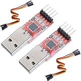 Yizhet CP2102 USB a TTL 5PIN Adaptador Convertidor Serie Módulo para 3,3V y 5V con Libre Cable(2 Piezas)
