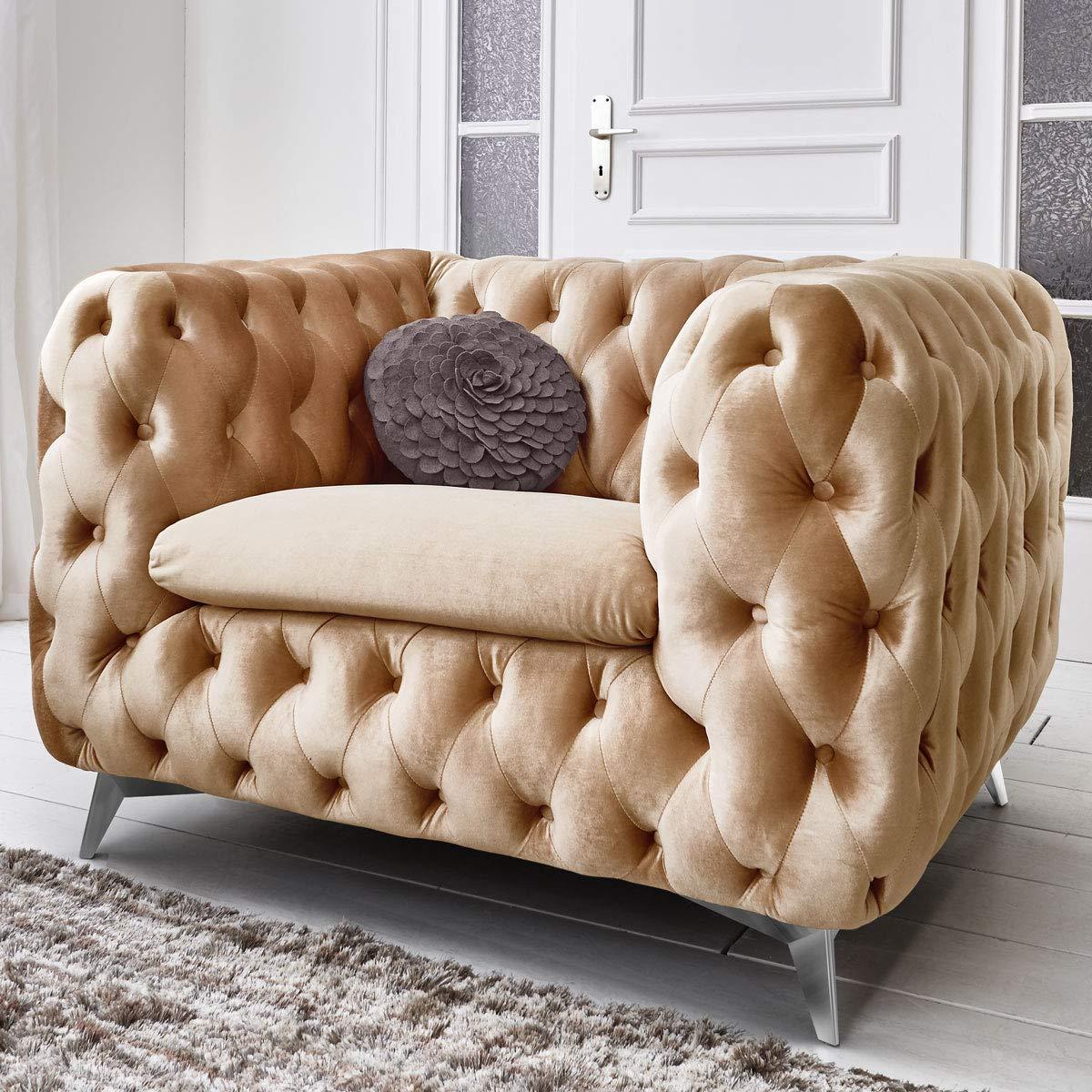 Chesterfield Sofa Couch Stoff Samt 3 Sitzer 2 Sitzer Sessel 1 Sitzer Designer Möbel Emma (1-Sitzer, Beige) 3