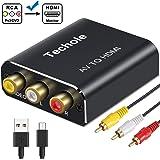 RCA auf HDMI Adapter Techole Aluminium 3RCA Composite AV zu HDMI Adapter, Unterstützung 1080P AV auf HDMI Konverter mit 3 x Cinch Kabel & USB-Kabel, für PC/Xbox/PS4/PS3/TV/STB/VHS/DVD/Wii