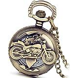 Lancardo, orologio da taschino da uomo, stile vintage, soggetto: motocicletta, colore bronzo, meccanismo analogico al quarzo,