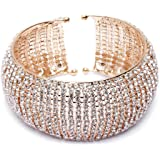 Shining Diva Fashion 18k Gold and Silver Plated Adjustable Crystal Cuff Bracelet for Women and Girls