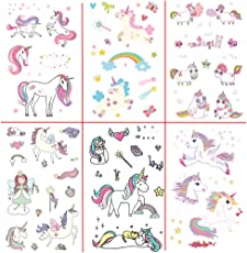 Fancyku Unicorn Temporary Tattoos for Kids Birthday Party Perfect for Girls Unicorn Party Favors Supplies (6 Sheets) (Style 4)