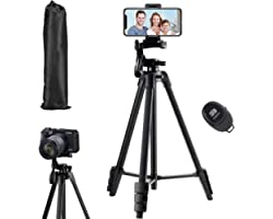 Phone Tripod,136cm Extendable Tripod Stand with Carrying Bag,Cell phone Tripod with Wireless Remote,Universal Tripod for Vide