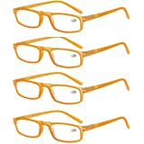Set van 4 leesbrillen voor heren en dames, goede bril, hoogwaardig, comfortabel, rechthoekig, super leeshulp, voor mannen en