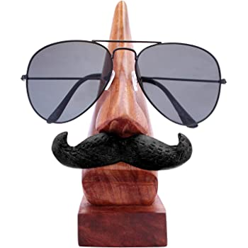 efe2f364ae Craftland Handmade Wooden Nose Shaped Spectacle Specs Eyeglass Holder Stand  With Moustache