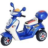 HOMCOM Moto Scooter électrique pour Enfants 6 V env. 3 Km/h 3 Roues et topcase Effet Lumineux et sonore Bleu