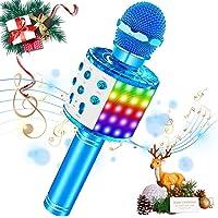 SaponinTree Microphone Karaoke sans Fil, Microphone Bluetooth avec Lumière LED, Parleur Intégré Chanter Player Karaoké…