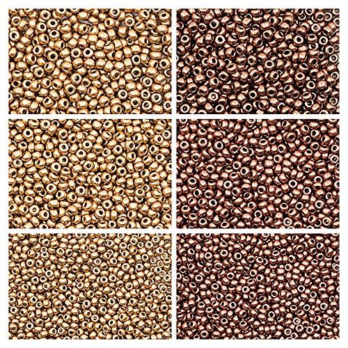 6x20gr Tschechische Runde Glasperlen, Rocailles 8/0, 9/0 und 10/0, Zwei Farben. Set 2CSB 006 (8SB053 8SB057 9SB107 9SB103 10SB189 10SB186) -
