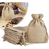 brown leaf Royal Small Jute Linen Potli Bags Pouch (5 x 3.5-inch, Beige) - Set of 12