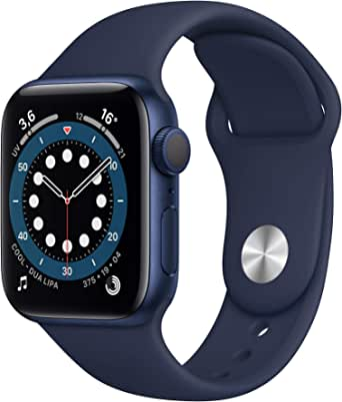 AppleWatch Series6 (GPS, 40mm) Cassa in alluminio azzurro con Cinturino Sport deep navy